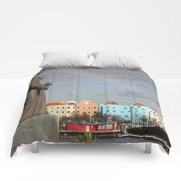 Rainbow over Willemstad Curaçao Comforters