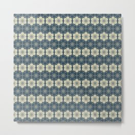 Blue Floral Japanese Pattern Metal Print