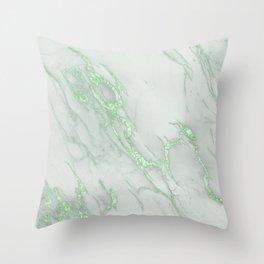Marble Love Green Metallic Throw Pillow