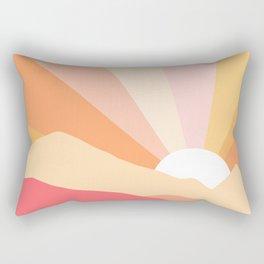 Sunny Coastal Retro Rainbow Rectangular Pillow