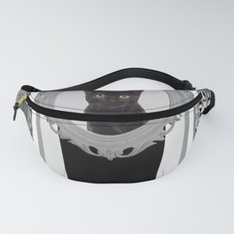 Black Cat grey Frame stripes pattern Fanny Pack