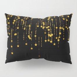 Twinkle Golden Stars -Dream- Black and Gold Pillow Sham