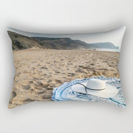 White Beach Hat, Summer Vacation, Holiday Time, Beauty Accessories, Sea And Ocean Relax, Mandala Rectangular Pillow
