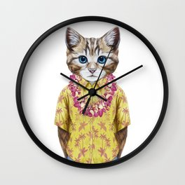 Portrait of Cat in summer shirt with Hawaiian Lei. Wall Clock