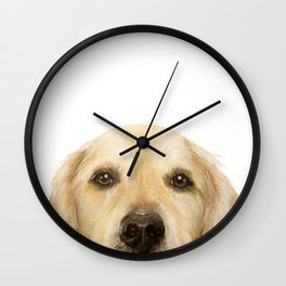 Golden retriever Dog illustration original painting print Wall Clock
