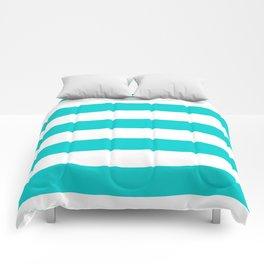 Horizontal Stripes - White and Cyan Comforters