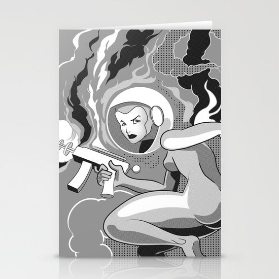 Space Girl with a Gun Stationery Cards