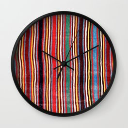 Qashqa'i Antique Fars Southwest Persia Striped Kilim Print Wall Clock
