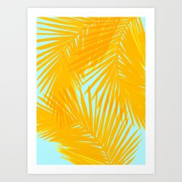 Palms Tangerine & Blue Art Print