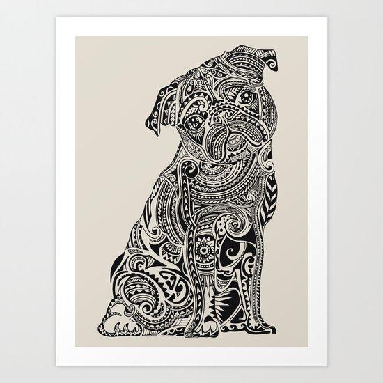 Polynesian Pug Art Print