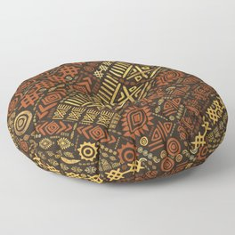 Ethnic African Pattern- browns and golds #5 Floor Pillow
