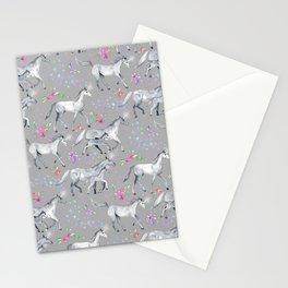 Unicorns and Stars on Soft Grey Stationery Cards