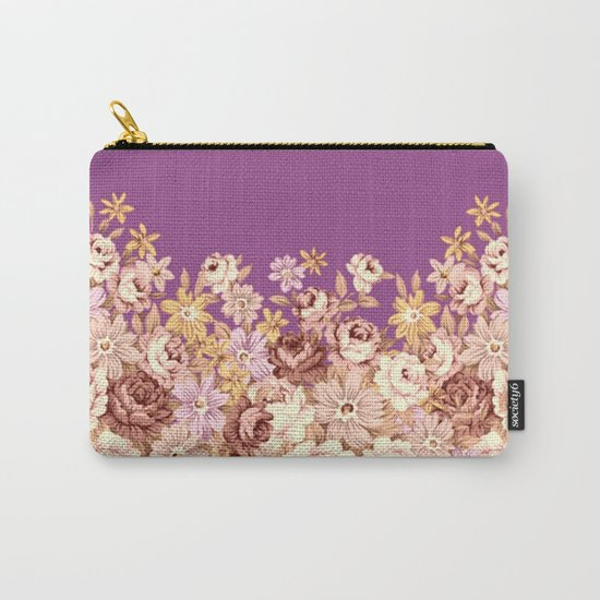 floral decor on purplish pink Carry-All Pouch