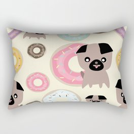 Pug and donuts beige Rectangular Pillow
