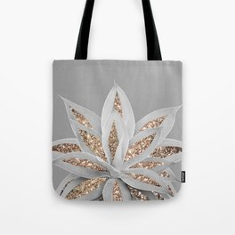 Gray Agave with Gold Glitter #1 #shiny #tropical #decor #art #society6 Tote Bag