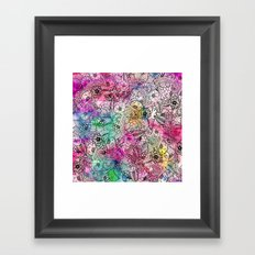 Modern colorful hand drawn flowers watercolor wash Framed Art Print