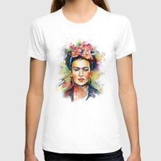 Frida Kahlo Womens Fitted Tee White MEDIUM