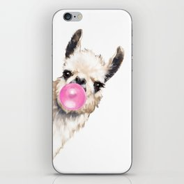Bubble Gum Sneaky Llama iPhone Skin