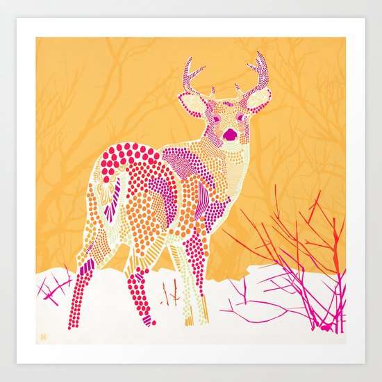 Stag Points Art Print