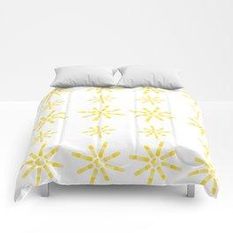 Yellow Sunburst Circles Comforters