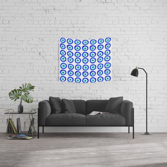 Evil Eye Amulet Talisman - on white Wall Tapestry