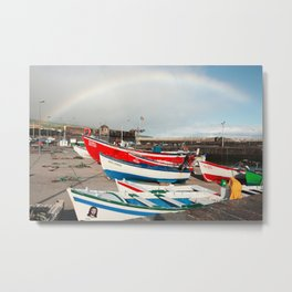 Rainbow at the harbour Metal Print