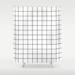Grid Simple Line White Minimalist Shower Curtain