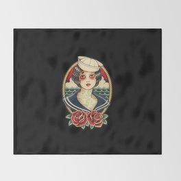 Sailor Girl Tattoo Throw Blanket