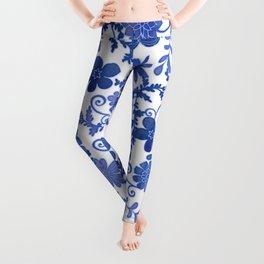 Floral China Blue Watercolor Pattern Leggings