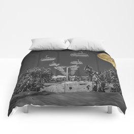Chair Lift to the Moon Comforters