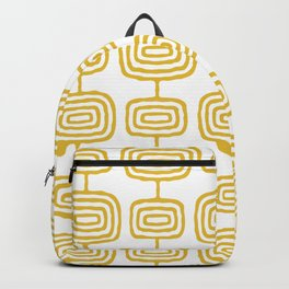 Mid Century Modern Atomic Rings Pattern Mustard Yellow 3 Backpack