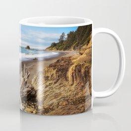 Remnants - Driftwood Logs Come to Rest on Shore of Washington Coast Coffee Mug