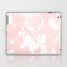 Blush pink watercolor dreamcatcher boho feathers illustration Laptop & iPad Skin