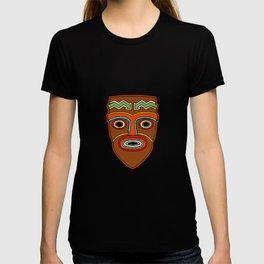 Tiki Face Totem Mask Hawaiian Luau Party Vacation Humour Design T-shirt