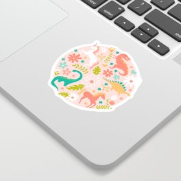 Dinosaurs + Unicorns in Pink + Teal Sticker