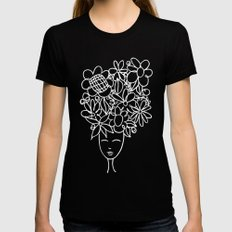 flowers in your hair Womens Fitted Tee Black MEDIUM