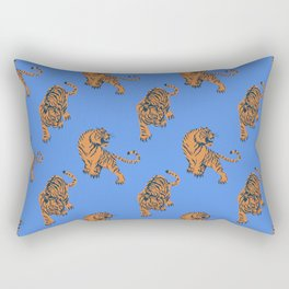 Tiger Print Blue Rectangular Pillow