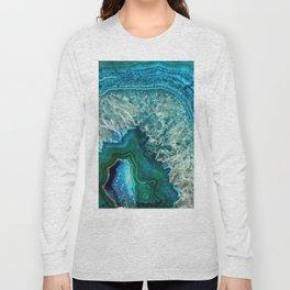 Aqua turquoise agate mineral gem stone - Beautiful Backdrop Long Sleeve T-shirt