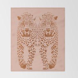 Sunset Blvd Leopard - blush pink and coral original print by Kristen Baker Throw Blanket