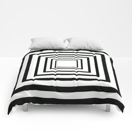 Concentric Squares Black and White Comforters