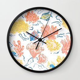 Ocean Coral rocks white Wall Clock
