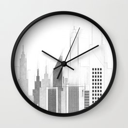 Modern City Buildings And Skyscrapers Sketch, New York Skyline, Wall Art Poster Decor, New York City Wall Clock
