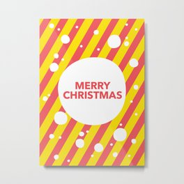 Merry Christmas Candy Cane Snow Stripes Metal Print