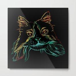 Fluffy Tuxedo Kitty Metal Print