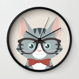Grey Tabby Hipster Cat Wall Clock