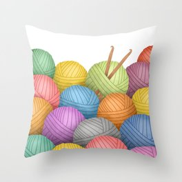 Two Crochet Hooks And A Lot Of Yarn Throw Pillow