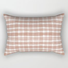 Cavern Clay SW 7701 Watercolor Brushstroke Plaid Pattern on White Rectangular Pillow