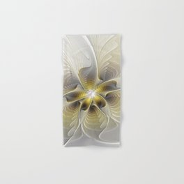Gold And Silver, Abstract Flower Fractal Hand & Bath Towel