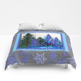 GREY WINTER SNOWFLAKE  CRYSTALS FOREST ART Comforters