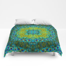 Peacock Feathers - Blue Comforters